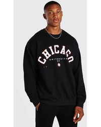 BoohooMAN Sweatshirt in Übergröße mit Chicago-Print - Schwarz