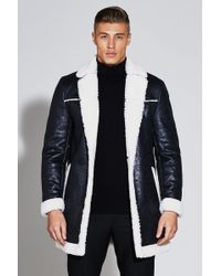 Boohoo - Premium Faux Leather Borg Lined Jacket - Lyst