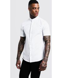 BoohooMAN Muscle Fit Grandad Collar Short Sleeve Shirt - White