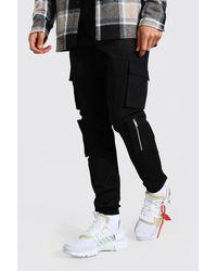 BoohooMAN Tall Multi Cargo Pocket Cuffed Trousers - Black