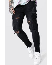 BoohooMAN Super Skinny Multi Rip Cargo Jeans - Schwarz
