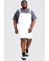 BoohooMAN Big & Tall Kurze Latzhose aus Denim - Weiß