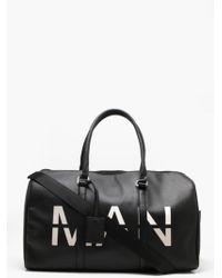 BoohooMAN Man Printed Saffiano Faux Leather Holdall - Black