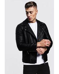BoohooMAN Faux Leather Moto Jacket - Black