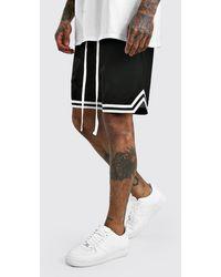 BoohooMAN Airtex Basketball Shorts With Tape - Black