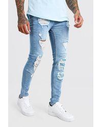 BoohooMAN Super Skinny Bandana Biker Rip And Repair Jeans - Blue