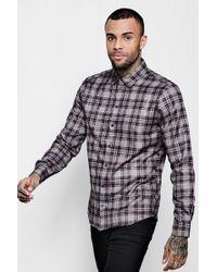 Boohoo - Burgundy Check Long Sleeve Shirt - Lyst