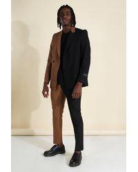 BoohooMAN Man Official zweireihige Anzugjacke, gespleißt - Braun