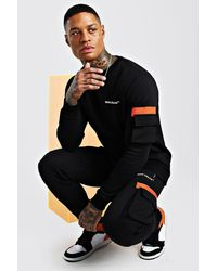 BoohooMAN Man Official Contrast Utility Sweater Tracksuit - Black