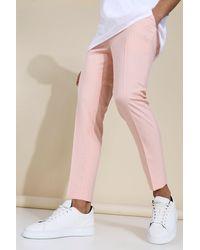 BoohooMAN Crop Skinny Fit Hosen nach Maß mit Nadelstreifen - Pink