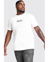 BoohooMAN Plus Size Man Dash T-shirt - White