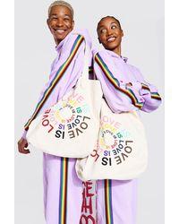 BoohooMAN Pride Love Is Circle Print Tote Bag - White