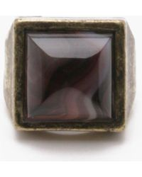 Boohoo - Burnished Gold Ring With Black Stone - Lyst