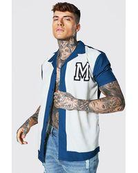 BoohooMAN Short Sleeve Oversized Varsity Revere Shirt - Bleu