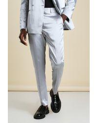 BoohooMAN Skinny Plain Sateen Suit Trousers - Metallic