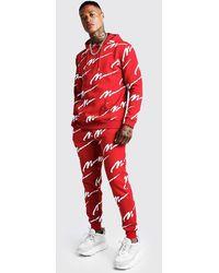BoohooMAN Survêtement à capuche imprimé MAN sur l'ensemble - Rouge