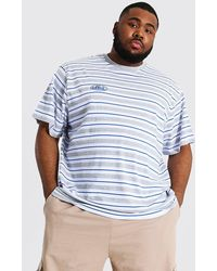 BoohooMAN Plus Size Loose Fit Offcl Stripe T-shirt - Grey
