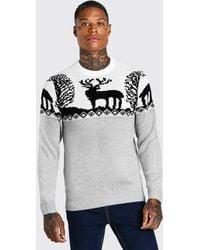 BoohooMAN Fair Isle Knitted Christmas Sweater - Gray
