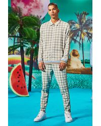 BoohooMAN Jacquard Smart Tracksuit In Dogtooth Print - Multicolour