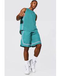 BoohooMAN Mesh Basketball Short Set - Blue