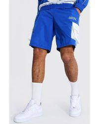 BoohooMAN Tonal Shorts With Rubber Branding - Blau