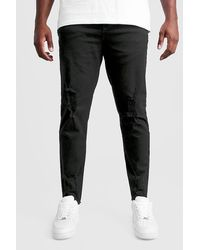 BoohooMAN Big And Tall Skinny Jeans With Raw Hem - Black