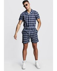 BoohooMAN Navy Check Revere Collar Short Jumpsuit