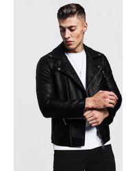 BoohooMAN - Faux Leather Biker Jacket - Lyst