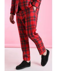 BoohooMAN Plus Size Skinny Fit Cropped Tartan Trousers - Red