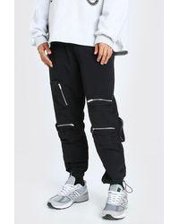 BoohooMAN Crinkle Multi Zip Pocket Bungee Cord Cargo Trouser - Noir