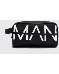 BoohooMAN Man Printed Large Washbag - Black