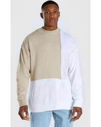 BoohooMAN - Colour Block Turtle Neck Knitted Jumper - Lyst