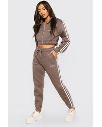 BoohooMAN Damen Cropped Trainingsanzug mit Trichterkragen - Grau