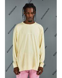 BoohooMAN T-shirt oversize à manches longues et motif floral - Neutre