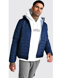 BoohooMAN - Quilted Zip Through Jacket With Hood - Lyst