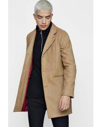 Boohoo - Wool Mix Overcoat - Lyst