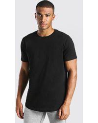 BoohooMAN Longline Curved Hem T-shirt - Black