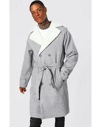 BoohooMAN Manteau long croisé avec col effet laine - Gris