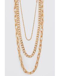 BoohooMAN Triple Layer Chain Necklace - Metallic