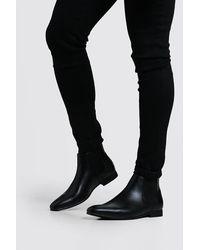 BoohooMAN Black Leather Look Chelsea Boots