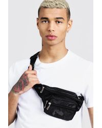 BoohooMAN Camo Nylon Bag - Black