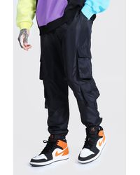 BoohooMAN Original Man Pocket Buckle Cargo Trousers - Black