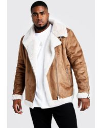 BoohooMAN Big & Tall Faux Fur Lined Suede Aviator - Brown