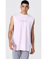 BoohooMAN Official Man Oversized Drop Armhole vest - Pink