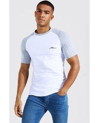 BoohooMAN Muscle Fit Man Signature Raglan T-shirt - Grau