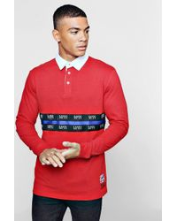 Boohoo - Rugby Sweat With Man Tape Detail - Lyst