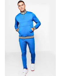 Boohoo - Skinny Fit Funnel Neck Man Tricot Tracksuit - Lyst