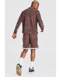 BoohooMAN Man Towelling Zip Through Shorts Tracksuit - Brown