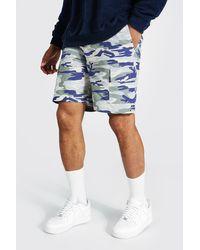 BoohooMAN Camouflage Twill Cargo-Shorts - Blau