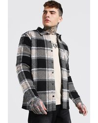 BoohooMAN Large Check Quilted Overshirt - Multicolour